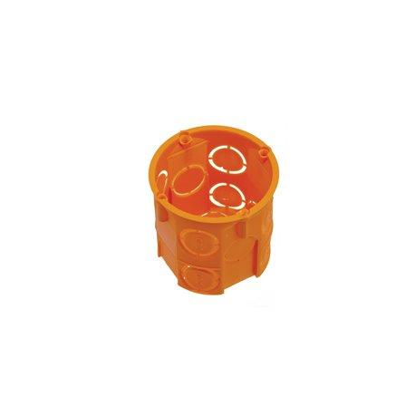 Puszka instalacyjna fi 60 głęboka, bez wkrętów, pomarańczowa, ABS/PP