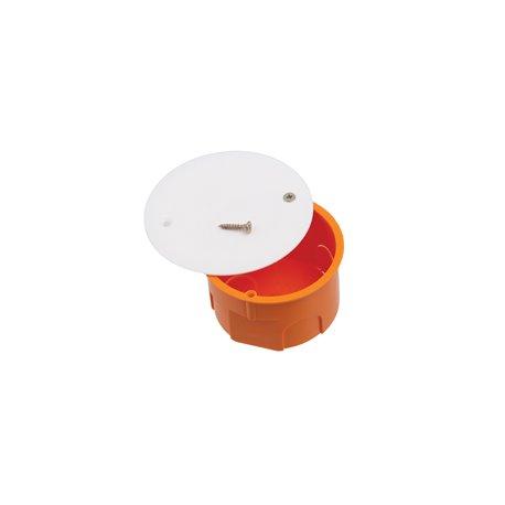 Puszka instalacyjna z pokrywką fi 60 płytka, z wkrętami, pomarańczowa