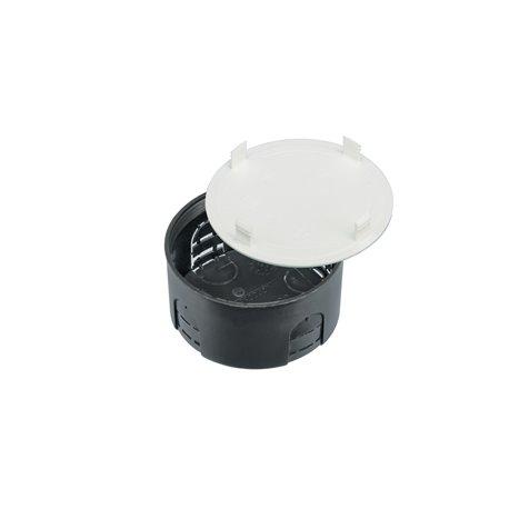 Puszka instalacyjna z pokrywką fi 80 płytka, czarna