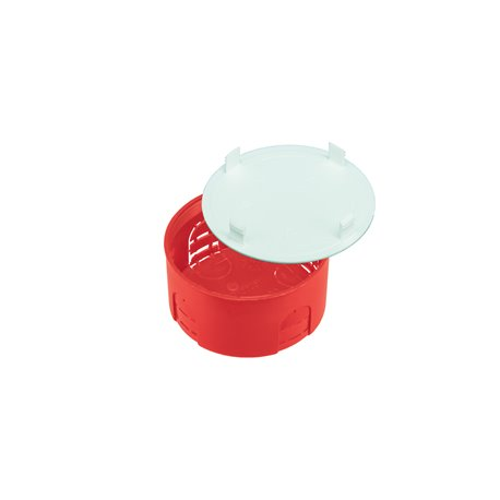 Puszka instalacyjna z pokrywką fi 80, płytka,samogasnąca,bezhalogenowa, czerwona