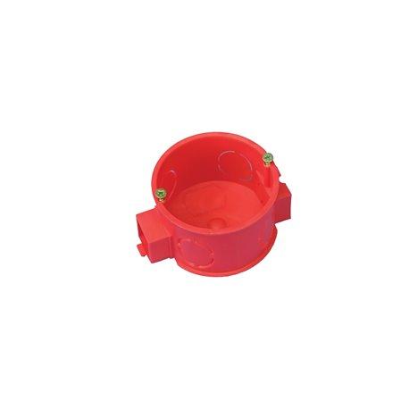 Puszka instalacyjna fi 60 łączeniowa, płytka, z wkrętami, samogasnąca, bezhalogenowa, czerwona
