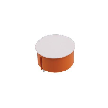 Puszka instalacyjna do płyt gipsowych z pokrywką fi 70 płytka, z wkrętami, pomarańczowa