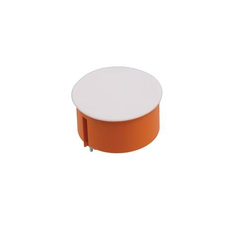 Puszka instalacyjna do płyt gipsowych z pokrywką fi 80 płytka, z wkrętami, pomarańczowa