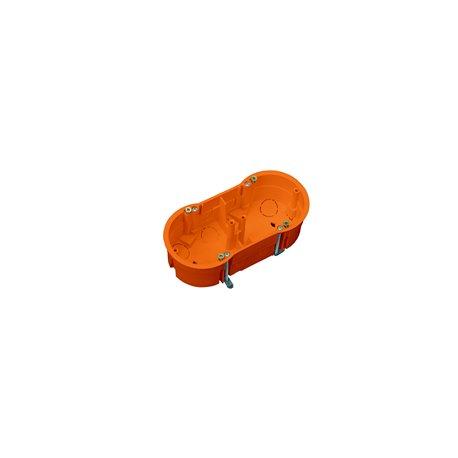 Puszka instalacyjna do płyt gipsowych podwójna 2x fi 60 płytka, z wkrętami, pomarańczowa