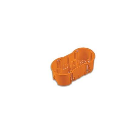 Puszka instalacyjna do płyt gipsowych podwójna 2x fi 60 głęboka, z wkrętami, pomarańczowa