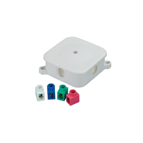 Puszka instalacyjna hermetyczna P-2, 4 dławiki, złączki pojedyncze kolorowe 4x2,5mm2, IP44, biała