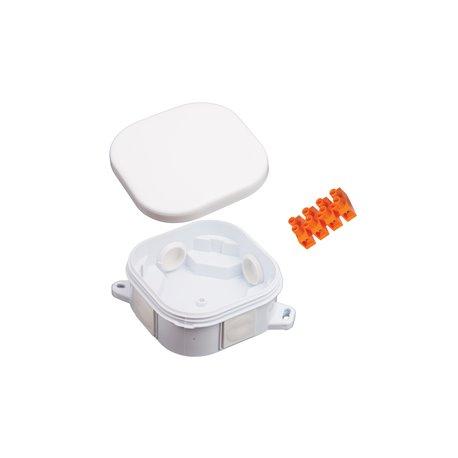 Puszka instalacyjna hermetyczna 92x92 klik,4 dławiki, ze złączką pomarańczową 4x6mm2,  bezhalogenowa, biała