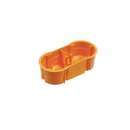 Puszka instalacyjna podwójna 2x fi 60 płytka, bez wkrętów, pomarańczowa