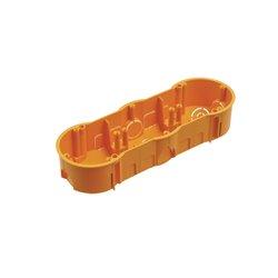 Puszka instalacyjna potrójna 3x fi 60 płytka, bez wkrętów, pomarańczowa