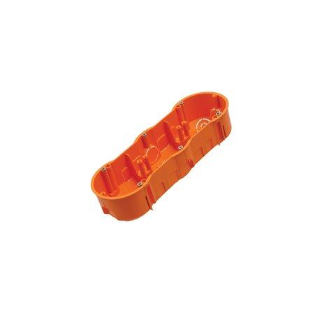 Puszka instalacyjna potrójna 3x fi 60 płytka, z wkrętami, pomarańczowa