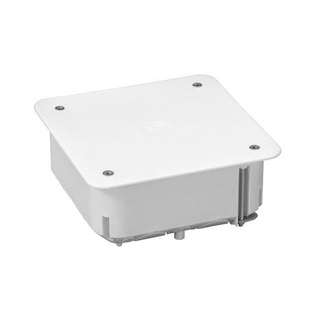 Puszka instalacyjna do płyt gipsowych z pokrywką 100x100x40 płytka, z wkrętami, biała
