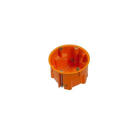 Puszka instalacyjna do płyt gipsowych fi 60 płytka, z wkrętami, pomarańczowa