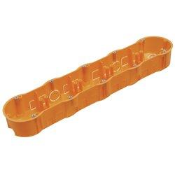 Puszka instalacyjna pięciokrotna 5x fi 60 płytka, z wkrętami, pomarańczowa