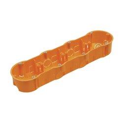 Puszka instalacyjna poczwórna 4x fi 60 płytka, z wkrętami, pomarańczowa