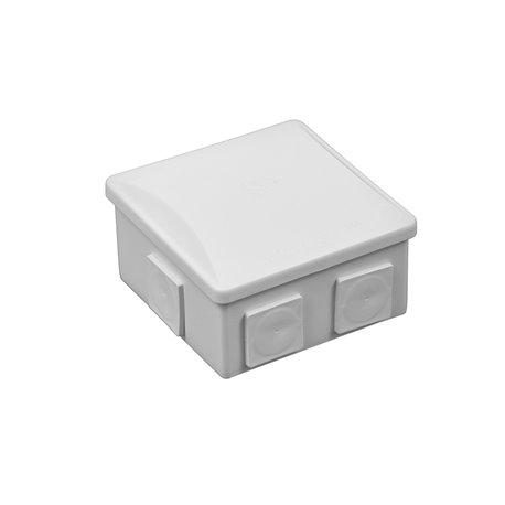 Puszka instalacyjna hermetyczna S-BOX 80x80x40 klik, 6x PG-13,5 kwadratowy,bezhalogenowa, IP44, szara