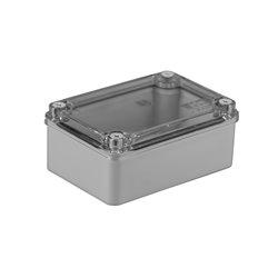 Puszka instalacyjna hermetyczna S-BOX 120x80x50, bez dławików, bezhalogenowa, pokrywa przezroczysta, IP65, szara