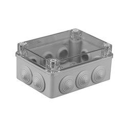 Puszka instalacyjna hermetyczna S-BOX 150x110x70, 10x PG-21, bezhalogenowa, pokrywa przezroczysta, IP65, szara