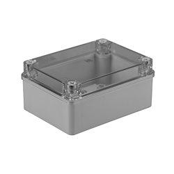 Puszka instalacyjna hermetyczna S-BOX 150x110x70, bez dławików, bezhalogenowa, pokrywa przezroczysta, IP65, szara
