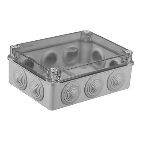 Puszka instalacyjna hermetyczna S-BOX 190x140x70, 10x PG-29, bezhalogenowa, pokrywa przezroczysta, IP65, szara