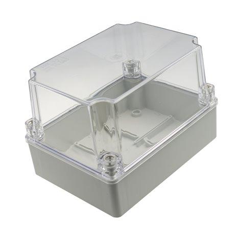 Puszka instalacyjna hermetyczna S-BOX 190x140x140, bez dławików, bezhalogenowa, pokrywa przezroczysta,wysoka, IP56, szara
