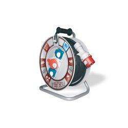 Przedłużacz na bębnie fi 340, siłowy, H05RR F5x1,5-50m, 2xGZ16A, 1x16A 5p (400V), IP44, wyłącznik termiczny