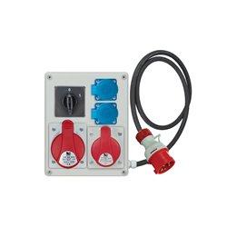Rozdzielnica R-BOX 240, 1x32A/5p, 1x16A/5p, 2x250V/16A, wyłącznik 0/1, przewód