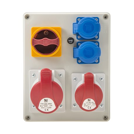 Rozdzielnica R-BOX 240, 1x32A/5p, 1x16A/5p, 2x250V/16A, wyłącznik L/P