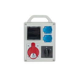 Rozdzielnica R-BOX 240R-4S, 1x32A/5p, 2x250V/16A, puste okno, wyłącznik 0/1 40A 1-fazowy